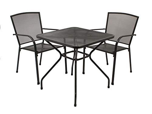DEGAMO Gartengarnitur Classic 3-teilig, 2X Stapelsessel und 1x Tisch 70x70cm quadratisch, Streckmetall anthrazit