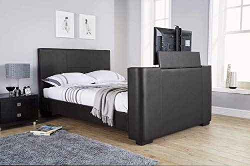 Newark 5ft King Size Faux Leather Electric TV Bed - Black