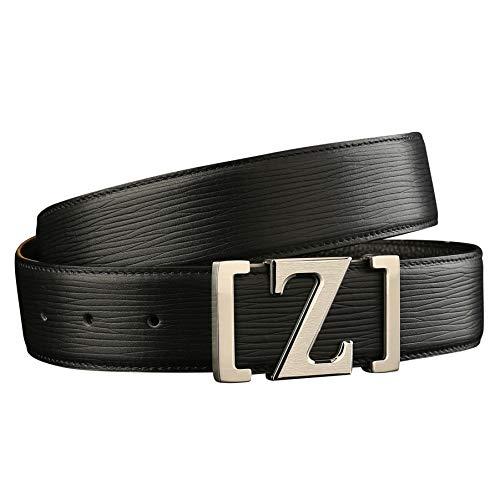 ZSCRL Glatter Schnallengürtel aus Edelstahl, hypoallergenes Design, Rindsledergürtel für Herren 110 cm * 3,8 cm silbernes Leder mit silberner Schnalle