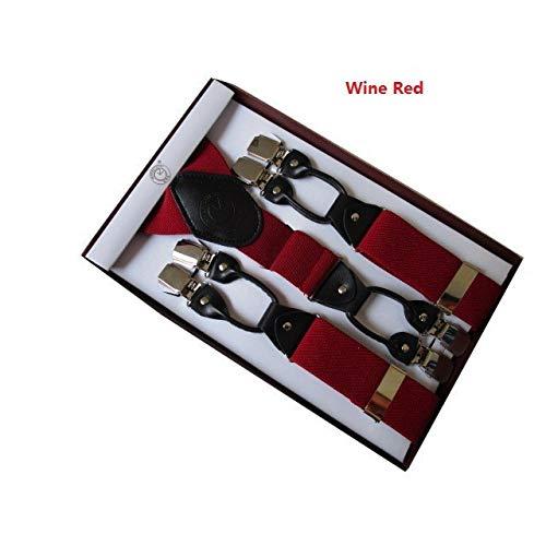 LLZGPZBD bretels voor oudere mannen, eenkleurig, 3,5 cm breed, zes clips, boxed strap, bretels
