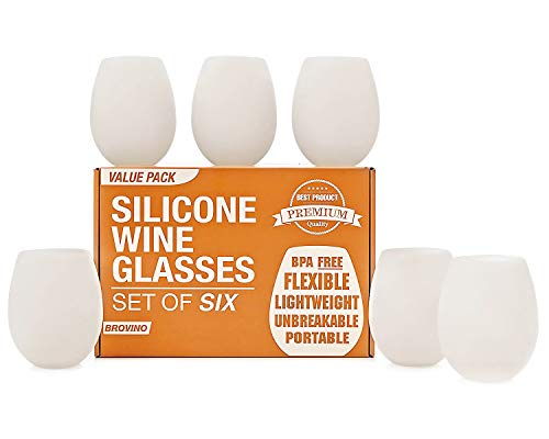 Silicone Wine Glasses - Set of 6 - Unbreakable Outdoor Rubber Wine Cups: 14 oz, Clear Silicone. 100%...
