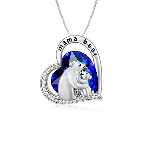 TOUPOP Sterling Silver Mama Bear Pendant Necklace
