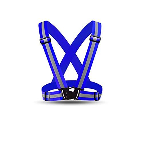 YIKXCF Seguridad de la Motocicleta Ajustable Seguridad de la Seguridad de Alta Visibilidad Chaleco Reflectante de la Chaqueta de Rayas para la Noche para Correr la Noche Montando (Color Name : Blue)