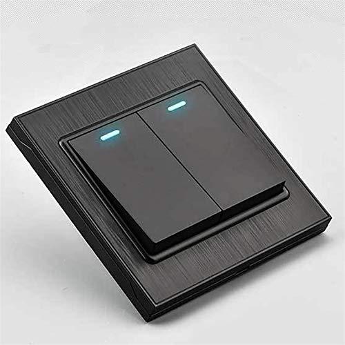 Yanqhua Interruptor de Pared Interruptor de Pared y botón de Socket ON/Off Switch de luz EU EE. UU. Estándar 1 2 3 4 Gang 1 2 Way AC 110V 250V Negro (Color : 1 Gang Black, Voltage : 2 Way)