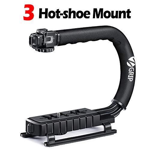Zeadio Triple Hot-Shoe Mounts Handheld Stabilizer, Video Stabilizing Handle Grip for Canon Nikon Sony Panasonic Pentax Olympus DSLR Camera Camcorder