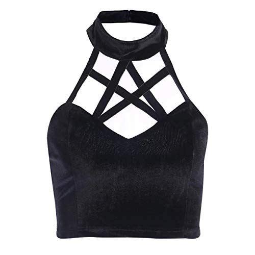Women's Solid Sleeveless Sexy Criss Cross Cami Tank Top Gothic Pentagram Bandage Halter Backless Blouses