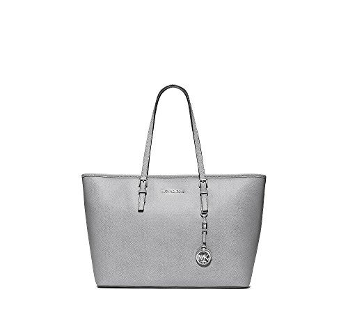 MICHAEL Michael Kors Jet Set Travel Saffiano Leather Top-Zip Tote Dove