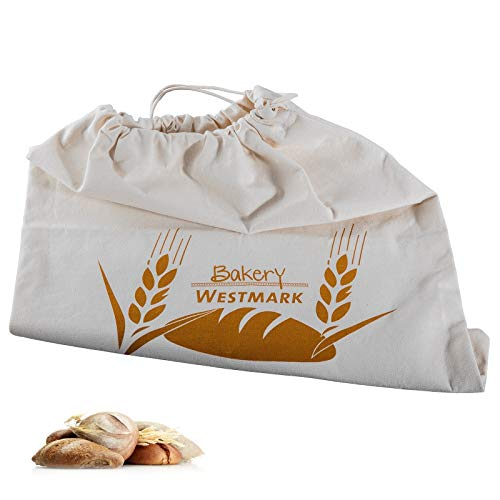Westmark Pan Bolsa/Bolsa con Cordón, 100% algodón, para el Panera, 38x 45cm, Blanco Natural, 32102270