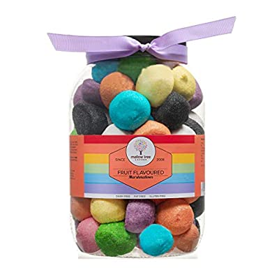 mallow tree assorted fruit flavoured (strawberry, apple, banana, peach, mixed forest berries and vanilla) multicoloured marshmallow balls in a gift jar, 600 g Mallow Tree Assorted Fruit Flavoured (Strawberry, Apple, Banana, Peach, Mixed Forest Berries and Vanilla) Multicoloured… 41fVrykqmYL