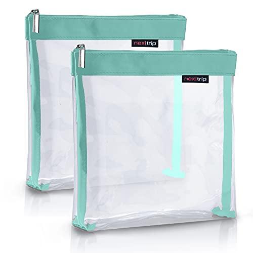 nex|trip Kulturbeutel [2'er-Set] Transparent für Flüssigkeiten Handgepäck - Kosmetiktasche durchsichtig für Flugzeug - Reiseset Kosmetik Beutel (Cyan)