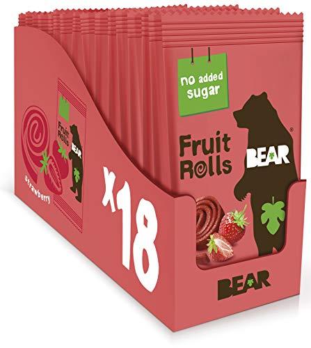 BEAR Fruit Rolls Fresa – Snack Natural 100% Fruta – Sin Azúcar Añadido – Sin Gluten – Vegano – Snack Saludable para Llevar – Pack 18 x 20 g