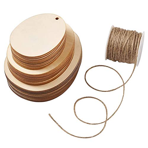 Tamkyo 30Pcs Wooden Easter Eggs Oval Pendant DIY Crafts with Hemp Cord Twine String for Home/Tree/Door Decoration
