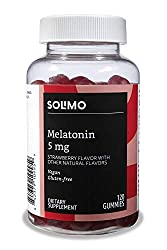 Amazon Brand - Solimo Melatonin 5mg, 120 Gummies (2 Gummies per Serving), Helps with occasional slee