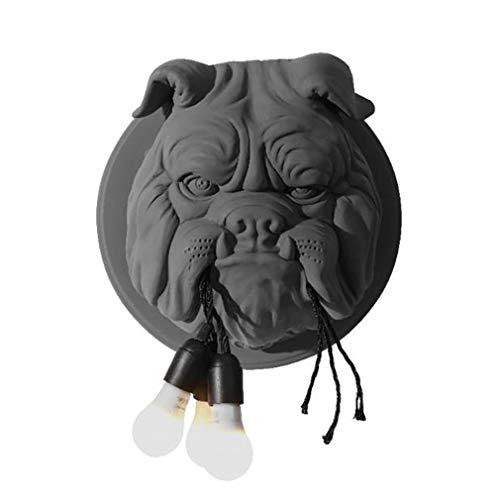 Dierenkop wandlamp, woonkamer eetkamer studie slaapkamer persoonlijkheid creatieve ontwerper, woondecoratie bulldog wandlamp (zwart, wit)