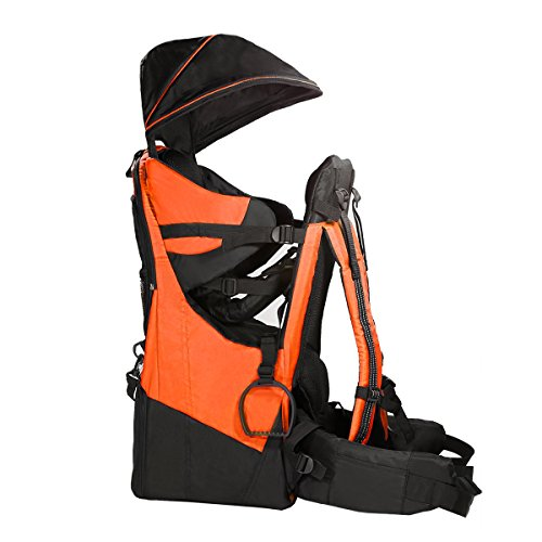 Clevr CRS600222 Deluxe Baby Backpack Hiking Toddler Child Carrier Lightweight with Stand & Sun Shade Visor, Orange | 1 Year Limited Warranty, Standard
