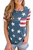 4th of July Women American Flag Loose Top Stars Striped Patriotic Summer US Short Sleeve Shirt XL