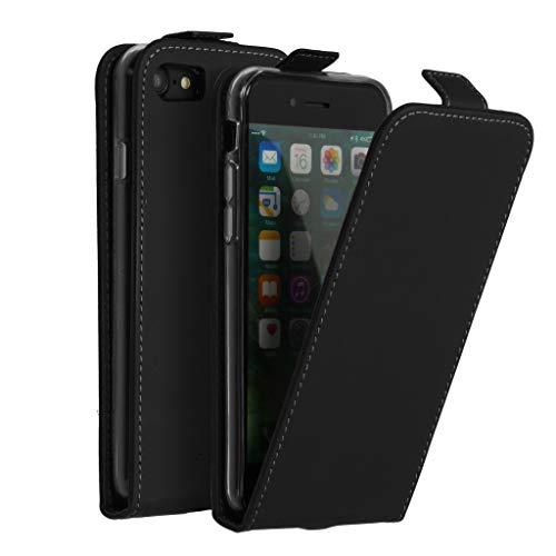 Accezz kompatibel mit iPhone 7,iPhone 8,iPhone SE 2020 Hülle – Flip Hülle Tasche – Handytasche zum Aufklappen in Schwarz [1 Kartenfach, Magnetverschluss, Premium Kunstleder]