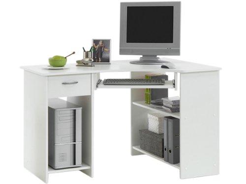 möbelando Schreibtisch Arbeitstisch Eckschreibtisch Kinderschreibtisch Computertisch Jay (Weiß)