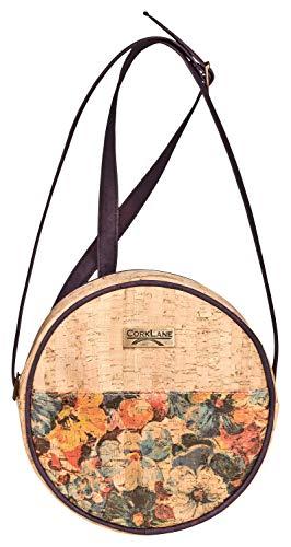CorkLane Tasche aus Kork im runden Design - vegan & Naturkork Round bag flowers, runde-Handtasche, Schultertasche, Kork-Tasche, Rund-Tasche, Kork-Handtasche, Kork-Schultertasche, cork (Mehrfarbig)