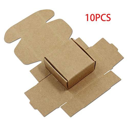 10 Stück Papierbox Karton Handgemachte Seifenschachteln Geschenkboxen Verpackung Schmuckbox Heimdekoration (Farbe: Kraftpapier, Größe: 4 x 4 x 2,5 cm)