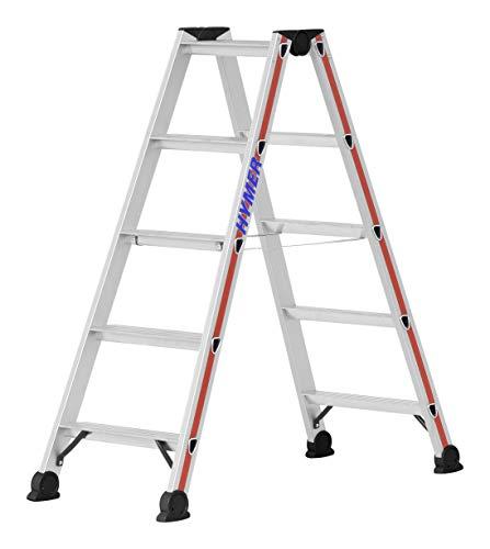 Hymer trapladder 2x5 treden (trapladder aan beide zijden beloopbaar, geanodiseerd frame, stalen scharnieren) 402410