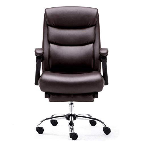 ViewSys Bürostuhl, Bürodrehstuhl Höhenverstellbarer Büromöbel Swivel Executive Office Chair hohe Rückenlehne PU-Leder-Computer-Schreibtisch-Stuhl Computer-Büro-Stuhl (Farbe: Braun, Größe: 51x64x108cm)