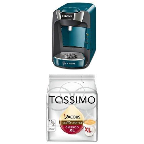 Bosch TAS3205 Tassimo T32 Suny Multi-Getränke-Automat Suny mit Tassimo Jacobs Caffè Crema classico XL, 5er Pack