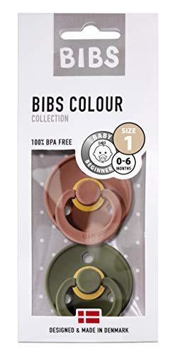 BIBS Schnuller Colour 2er Pack Größe 1 (0-6 Monate), Naturkautschuk, dänische Schnuller mit Kirschform (Woodchuck/Hunter Green, Größe 1 (0-6 Monate))
