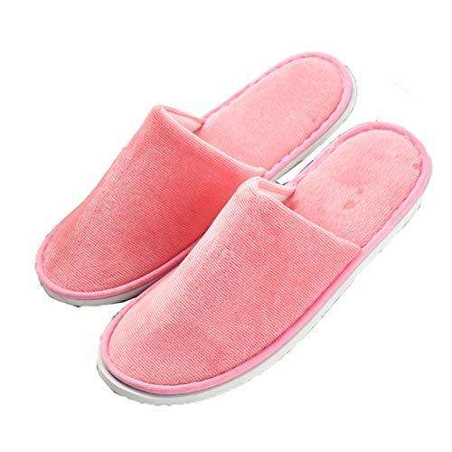 AELEGASN 10 Pares De Zapatillas Desechables SPA Home Zapatillas Respirables Lavable Reutilizable Zapatos Unisex para Viajes De Hotel Baño, Invitados, Hogar, Bodas,Rosado