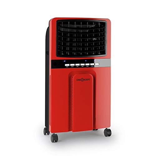 oneConcept Baltic Red - Raffrescatore Evaporativo, 65W, Capacità 400m³/h, 4 Ruote, 2 Accumulatori di Freddo, Telecomando, Rosso