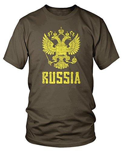 Amdesco Men's Eblem of The Russian Federation, Russia Arms T-Shirt, Dark Chocolate Small