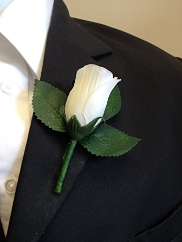 Angel Isabella Boutonniere - Ivory Rosebud Boutonniere with Pin Suited for Prom, Party, Wedding