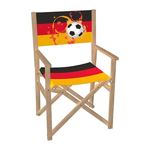 Vispronet Regiestuhl Fußball, Deutschland Outdoor Klappstuhl ✓ Buchenholz ✓ Rückenlehne & Sitzfläche mit Druck ✓ bis 110 kg