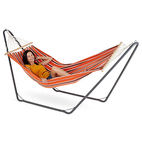 VonHaus Hammock with Metal Frame Standing Swinging Hammock for Outdoor, Garden and Patio