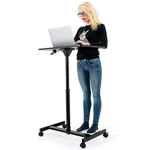 Tatkraft Focus Airlift Pneumatic Sit-Stand Laptop Desk with Wheels, Adjustable Height 29 – 45 inch Effortless Gas-Lift Regulation, Home Office Mobile Rolling Laptop Stand, Large Tabletop, Black