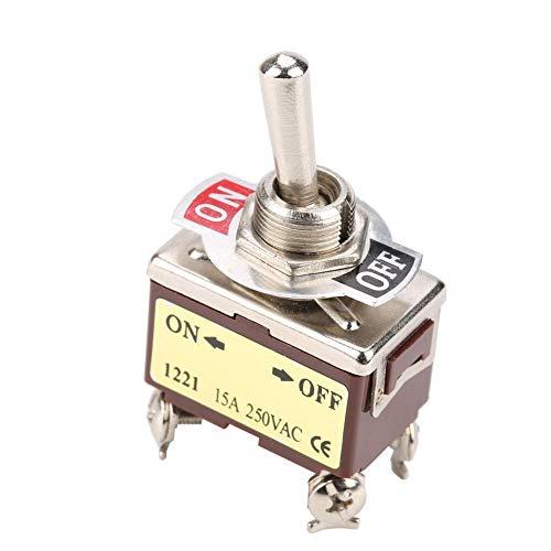 12 mm Interruptor de palanca ON-OFF de 5 posiciones, 2 posiciones, 4 clavijas, interruptor de palanca 15A para automóvil, electrodomésticos, control industrial, montaje de