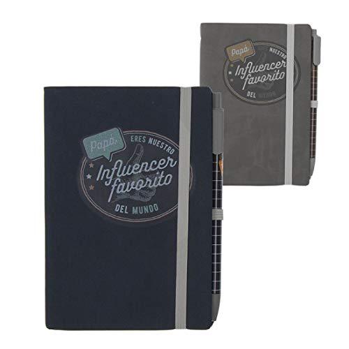 Home Gadgets notitieboek met gum en balpen, 2 kleuren, Papa Influencer, 14 x 10 cm