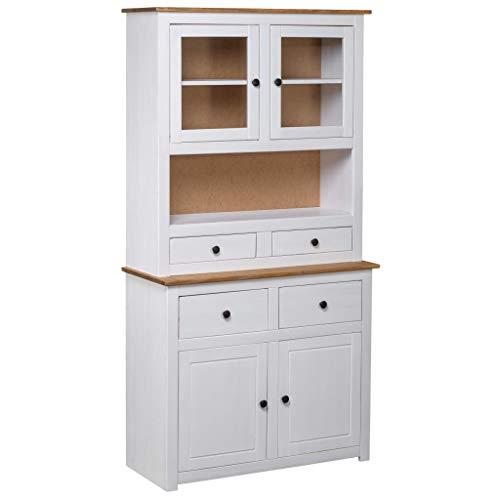Highboard Weiß 93×40,5×180 cm Kiefer Massivholz Panama Serie