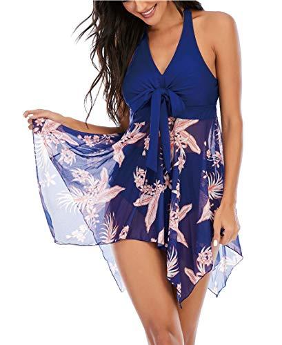 Aidotop Mujer Tankini de Dos Piezas Halterneck Dobladillo Asimétrico Estampado Floral Bañador Sexy Elegante Deportivo Bikini(Blue Floral,XXL)
