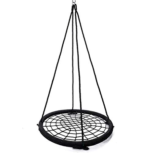 Outdoor Swing, Swings for Children Indoors and Outdoors, Giant 40' Round Web Tree Net Swing,Adjustable Length Hanging Ropes Easy Install,Load 300 Kg(Black)