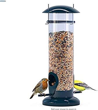 winemana Tube Bird Feeder, Squirrel Proof Hanging Wild Bird Feeder for Mix Seed Blends, Detachable Outside Anti-UV Weatherproof Bird feeders Outside (Black)