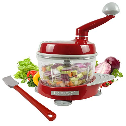 KIRKWOOD KITCHEN Multi-function Manual Food Processor Kitchen Meat Grinder Vegetable Chopper, Slicer Spinner Dicer for Fruits, Herbs, Lettuce, Salad & Foods