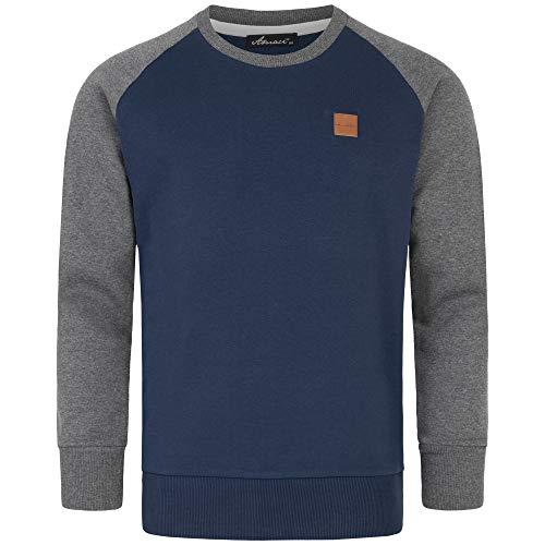 Amaci&Sons Herren Basic College Sweatjacke Pullover Hoodie Sweatshirt 4050 Navyblau/Anthrazit L