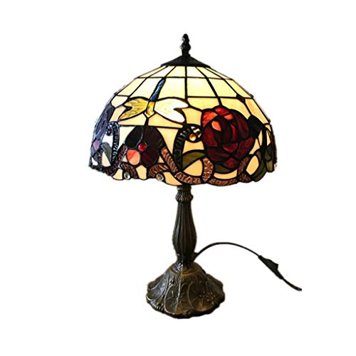 SPNEC European Creative Table Lamp, Retro Stained Glass + Zinc Alloy Base Living Room Bedroom Bedside Lamp