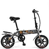 LFANH Scooter Eléctrico, La Bicicleta Plegable Eléctrico con Motor De 250W / 8,0 Ah De La Batería, Velocidad Máxima 25 Kmh/Carga Máxima De 150 Kg, Estándar De 14 Pulgadas Ciudad E-Bici/Bicicleta,Gris