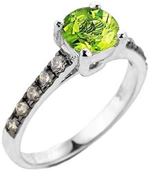 14k White Gold Champagne Diamond Band Peridot Wedding Engagement Ring