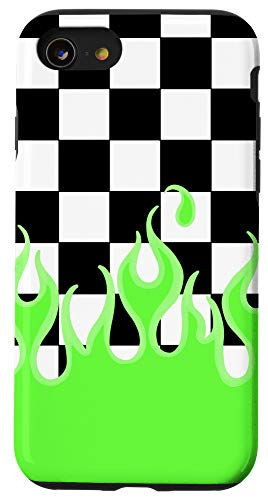 iPhone SE (2020) / 7 / 8 Green Flames Checkerboard Y2K Aesthetic E-Girl 90's Style Case