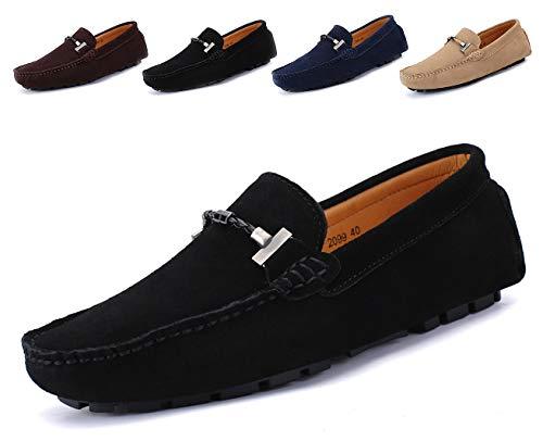 SMajong Herren Klassische Mokassin Wildleder Penny Loafers Comfort Halbschuhe Bootsschuhe Weich Flache Fahrende Schuhe,Schwarz,40 EU