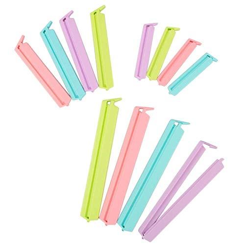 Unishop 12pcs Cierra-Bolsas Pinza de Plástico de Diferentes Tamaños para Bolsas de Alimentos Clip de Sellado de Bolsas (1)