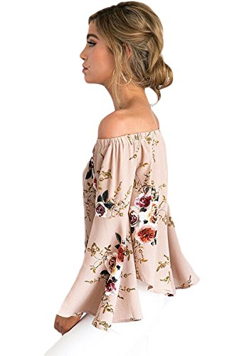 Women Long Bell Sleeve Floral Print Off Shoulder Casual Blouse Shirt Top, Beige, Size S (US 4-6)